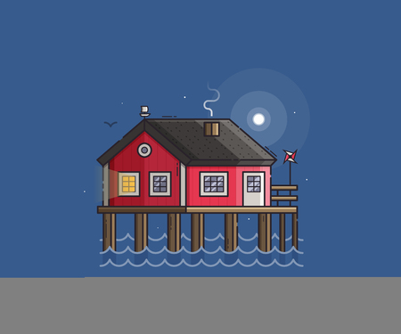 stilt: Sea side landscape with red stilt house with smoking chimney by moonlight. Beach pier home building night scene vector illustration. Wooden fisherman house on seaside background in flat design.