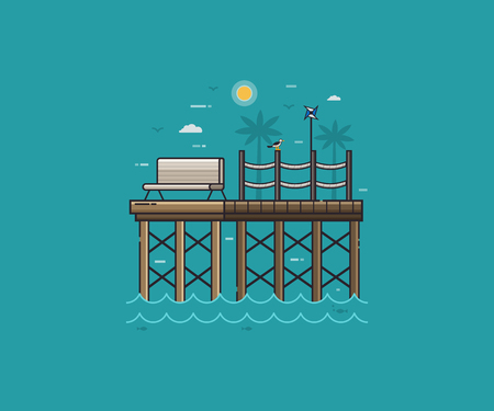 stilt: Sea pier, seagull and pinwheel on tropical landscape. Wooden jetty and bench on seaside background in flat design. Summer sea vacation concept vector illustration for travel agency. Stock Photo