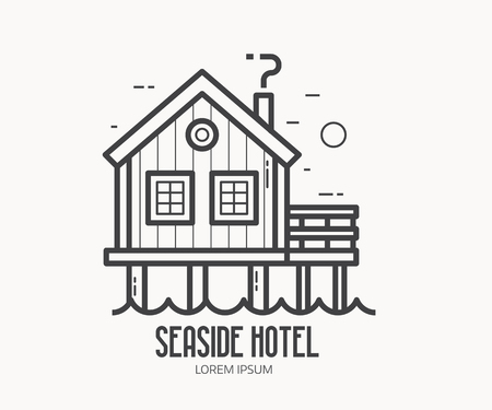 stilt: Seaside hotel  or label template in linear style. Sea stilt house   in thin line design. Beach pier home outline icon.