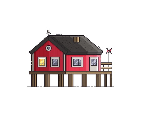 Red stilt house with jetty and pinwheel. Beach pier home building at seaside. Wooden fisherman house vector illustration. Stock Photo