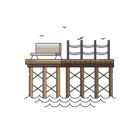 Zee pijler vector illustratie. Houten steiger, meeuwen en bankje aan zee vakantie concept. Stockfoto