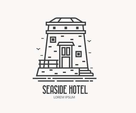 Seaside hotel  or label template in linear style. Sea observation tower  in thin line design. Old stone lighthouse outline icon. Stock Photo