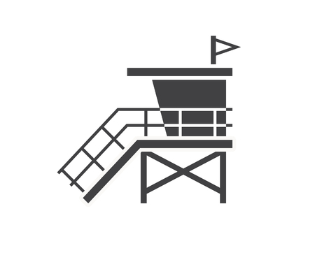 coast guard: Sea life guard tower icon. Beach lifeguard house   or label template. Baywatch hut vector illustration in outline design.