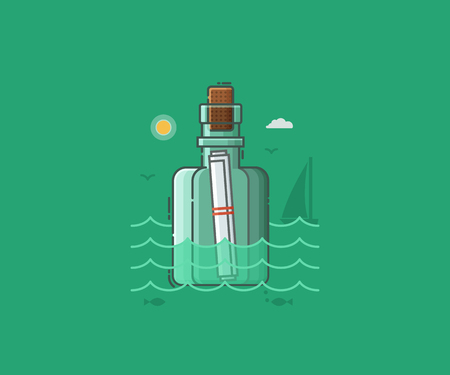 Sea scene with message bottle in the water. Shipwreck letter on seaside background vector illustration.