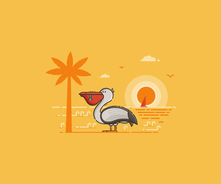 Summer island landscape with large sea bird on beach by sunset in flat design. White pelican with full beak on tropical seaside background. Summertime travel concept vector illustration.