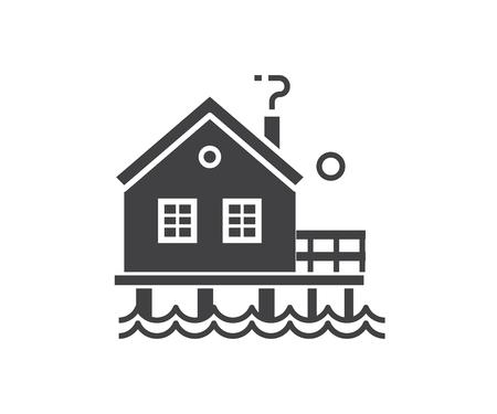 概略設計で海辺の高床式の家のアイコン。ビーチ バンガロー ロゴタイプ シルエット ベクトル イラスト。木製の漁師の家またはラベル テンプレー