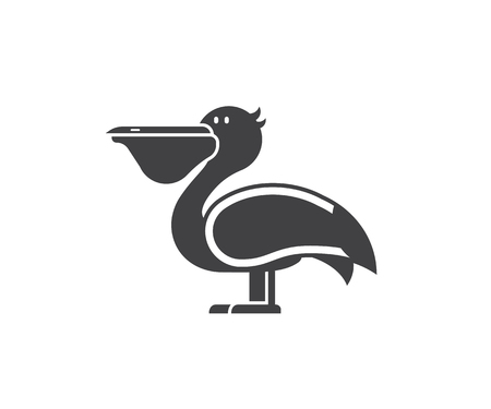 Pelican icon in outline design. Large sea bird logo or label template in linear style.