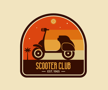 logo vector: Scooter club badge or logo template. Pin with scooter on beach. Small motorcycle or moped riding on tropical background in retro style. Motorbike logotype or label vector illustration. Stock Photo