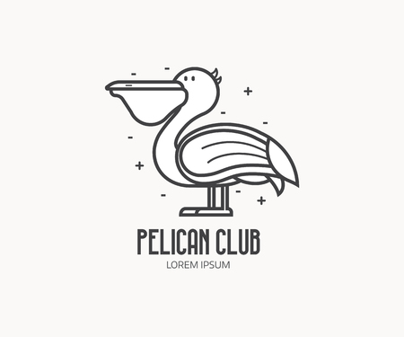 White pelican logo or label template in linear style. Large sea bird icon in thin line design.