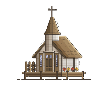 Wooden church building on jetty by the sea. Pier chapel vector illustration in flat design. Traditional marine kirk for sailors or fishermen.
