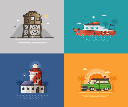 baywatch: Travel seaside landscapes set with different sea coast scenes. Summer beach backgrounds with lighthouse, lifeguard tower, motor boat and surfing van by sunset. Summer holidays concept illustrations. Stock Photo