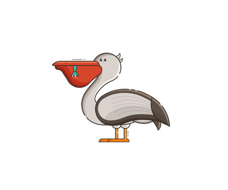 White pelican with full beak isolated on white background. Large sea bird eating fish vector illustration in flat design.
