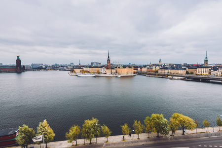 Stockholm panorama with Old Town Gamla Stan and Centralbron bridge view from Monteliusvagen in Sodermalm island. Stockholm skyline with City Hall, Riddarholm Church and Old German Church, Sweden. Stock Photo