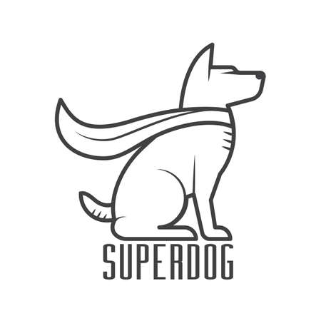 superdog logo or label template super dog hero in heroic cape