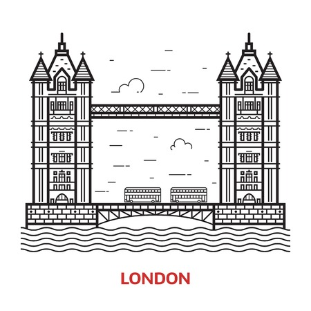 london tower bridge: Travel London landmark icon. Tower bridge is one of the famous architectural tourist attractions in capital of Great Britain. Thin line England destination vector illustration in outline design.