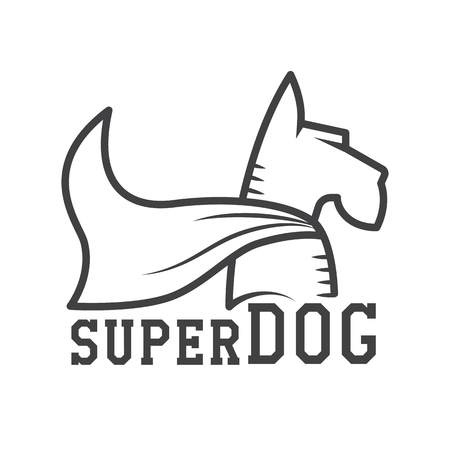 super dog: Superdog logo or label template. Super dog hero in heroic cape logotype in line design. Scotch terrier in cloak. Stock Photo