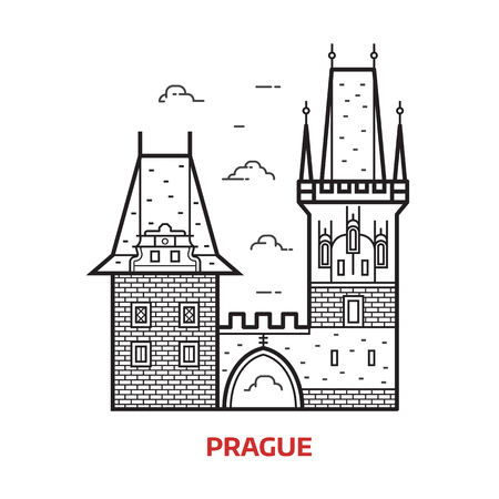 Travel Prague landmark icon. Charles bridge towers on Vltava river is famous architectural tourist attraction in Czech Republic capital. Line Prague destination vector illustration in outline design.