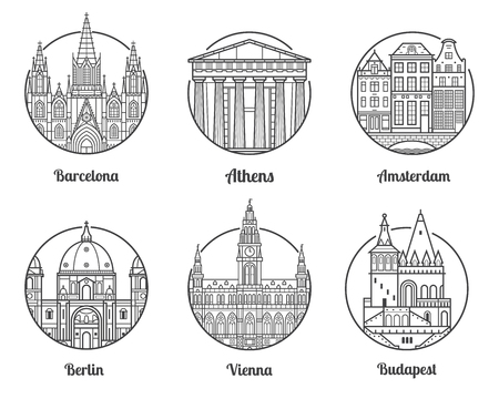 Main Europe cities icons including Barcelona, Athens, Amsterdam, Berlin, Vienna and Budapest. Travel destinations icon set with famous european landmarks and tourist attractions in line art design.