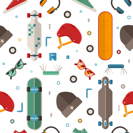 Skateboard pattern with equipment and accessories in flat design.