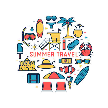 Summer travel concept background with sea beach icons in circle. Illustration