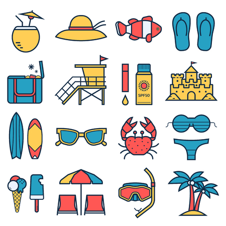 Summer beach icon set. Summertime sea travel vacation collection in linear style.