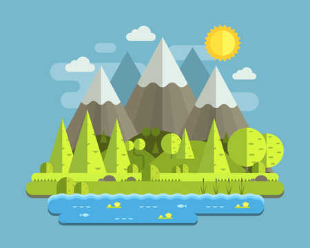 wilderness area: Mountain lake forest landscape with peaks, wood and hills by summer day. Abstract nature scenery vector illustration in flat design. National mountain park in the Alps wilderness background. Stock Photo