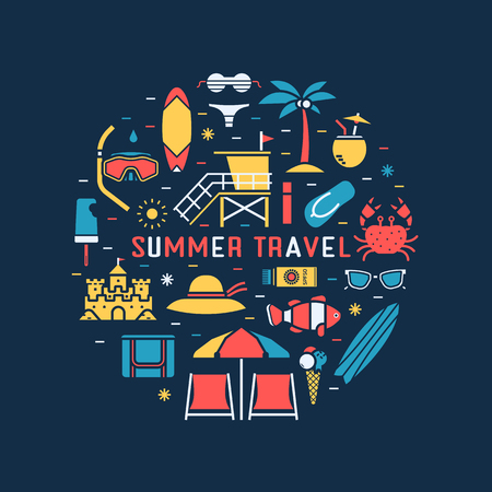 Summer travel concept background with sea beach icons in circle. Summertime tropical holidays collection in linear style. Sunbathing accessories and beach activity elements vector illustration.