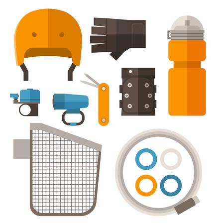 Fietsaccessoires in plat ontwerp. Fietsen apparatuur vector iconen. Inclusief fietshelm, beschermende handschoenen, waterfles, mand, kabelslot, licht, bel-ring en multitool.
