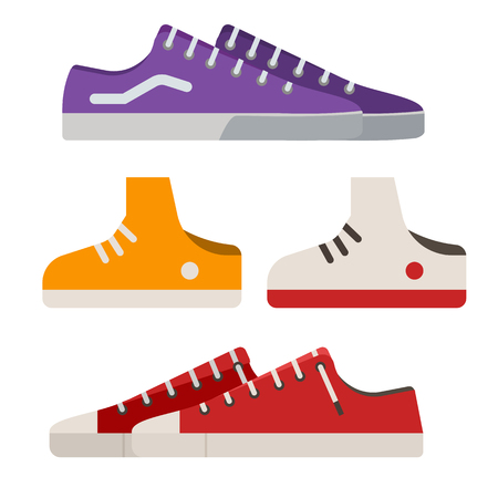 Different sneakers and gumshoes icons in flat design. Casual shoes and boots vector illustration. Imagens
