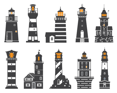finding: Monochrome lighthouse icon set. Different sea guiding light houses buildings. Sea pharos or beacon collection isolated on white background. Searchlight tower icons of various types in outline design.