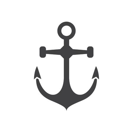 Nautical ship anchor vector icon in outline design.