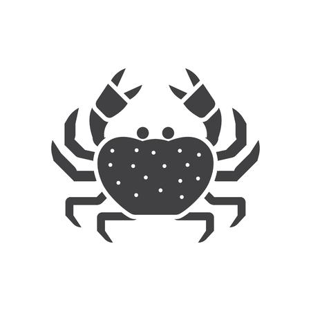 Beach crab outline icon. Sea creature vector illustration in silhouette design.