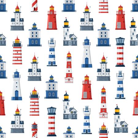 Cartoon vuurtoren patroon. Rode en blauwe zee geleidende lichte huizen naadloze achtergrond. Zeeparos of baken maritieme achtergrond. Vector zoeklicht torens van verschillende types.
