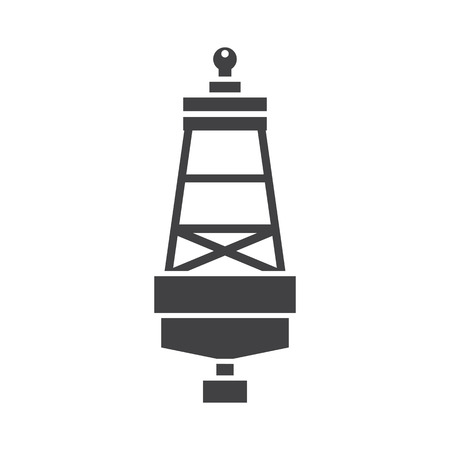 Maritime lateral mark silhouette vector illustration. Floating sea buoy icon.