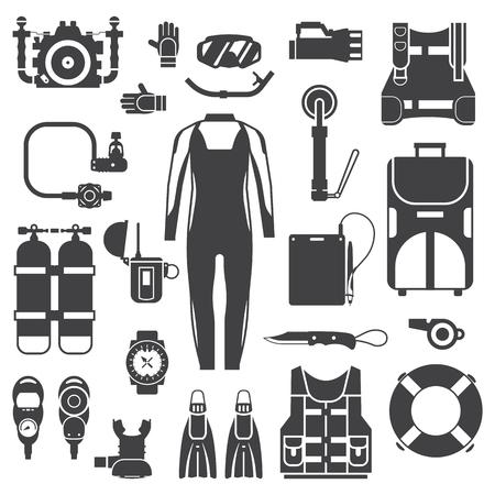 Schnorchelausrüstung. Unterwasser-Elemente. Tauchausrüstung Scuba-Tauchen Vektor-Icons in Outline-Design. Unterwasseraktivitätszubehör in schwarz und weiß. Neoprenanzug, Maske, Schnorchel, Flossen, Sauerstoff, Regler. Vektorgrafik