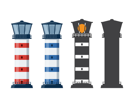 Blue and red striped lighthouse icon in different styles. Sea guiding light houses in flat and outline design. Searchlight or beacon cartoon illustration and silhouette.