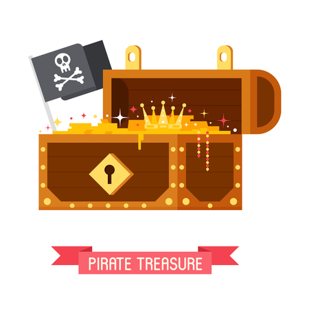 Opened pirate treasure chest with Jolly Roger flag with skull and crossbones. Gold box full of coins vector illustration. Illustration