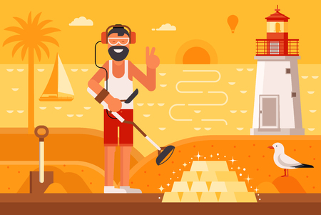 Beach treasure hunter using metal detector on seashore background.  Success and winning new possibilities concept. Smiling beard summer man finding gold bars on sea coast with lighthouse by sunset. Illustration