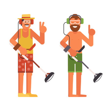 Treasure hunter vector illustration. Smiling beard summer man with beach metal detector in headphones. Banque d'images