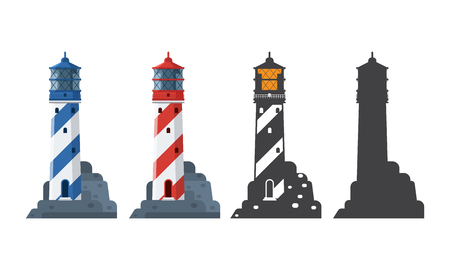 Blue and red striped lighthouse icon in different styles. Sea guiding light houses in flat and outline design. Searchlight or beacon cartoon illustration and silhouette. Stock Photo