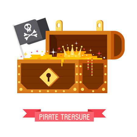 Opened pirate treasure chest with Jolly Roger flag with skull and crossbones. Gold box full of coins vector illustration. Stock Photo