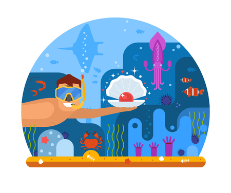 Pearl diving concept illustration with scuba diver finding shell on seabed. Underwater world scene with snorkeler man searching treasures on sea bottom among ocean life on coral reef background. Stock Photo