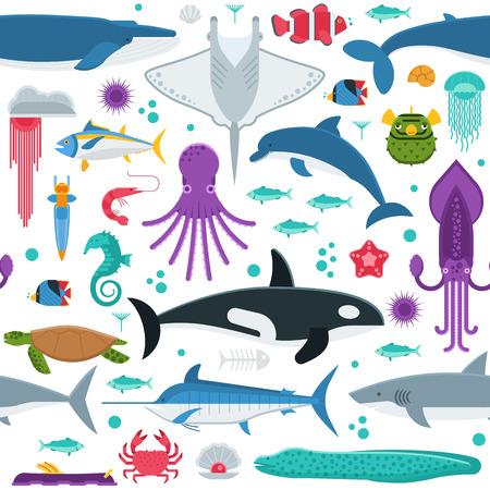 Fondo De Animales Subacuáticos Y Criaturas Del Mar Estilizado En ...