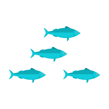 Blue sardine run vector illustration in flat design. Cartoon fish shoal isolated on white background. Herring or anchovy school in flat design.