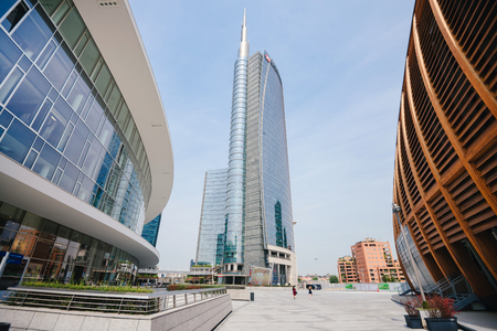 milánó: June 14th, 2017 - Milan, Lombardy, Italy. Unicredit tower is the tallest building in Italy. Modern skyscraper on Garibaldi downtown district near Piazza Gae Aulenti.