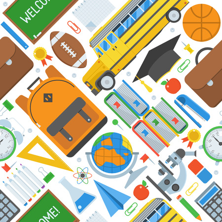 school class: Back to school pattern with study and learning icons and stationery elements. Stock Photo