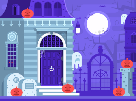 halloween background: Halloween ghost house scene with victorian haunted mansion entrance, old cemetery, spooks and gallows tree by full moon night. Horror story or scary tale concept vector illustration.