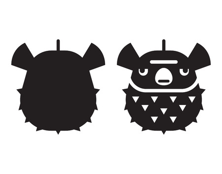Aquatic plufferfish or blow fish icon in outline style. Fugu or ballonfish logo or label template.