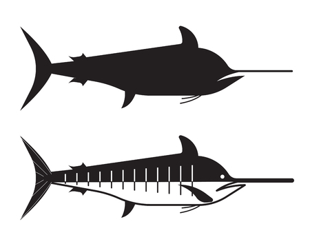 billfish: Blue marlin fish in outline style. Ocean swordfish logo or label template.