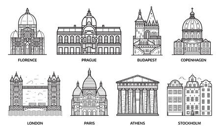 European monuments and landmarks. Europe travel destinations with famous buildings and tourist attractions in line art design. Top cities including Florence, Paris, Budapest, Prague, London and more. Banco de Imagens